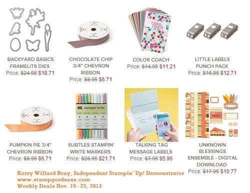 Stampin' Up! Weekly Deals Nov 19 2013